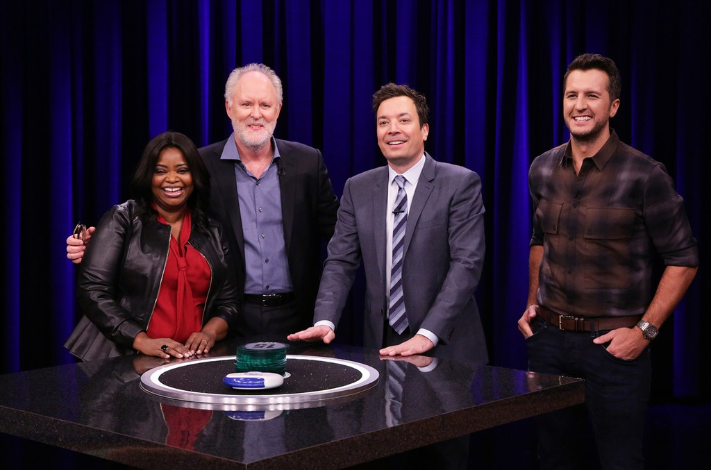 """Octavia Spencer, John Lithgow, Jimmy Fallon, and Luke Bryan during """"Catchphrase"""" on """"The Tonight Show Starring Jimmy Fallon"""" on March 2, 2017."""