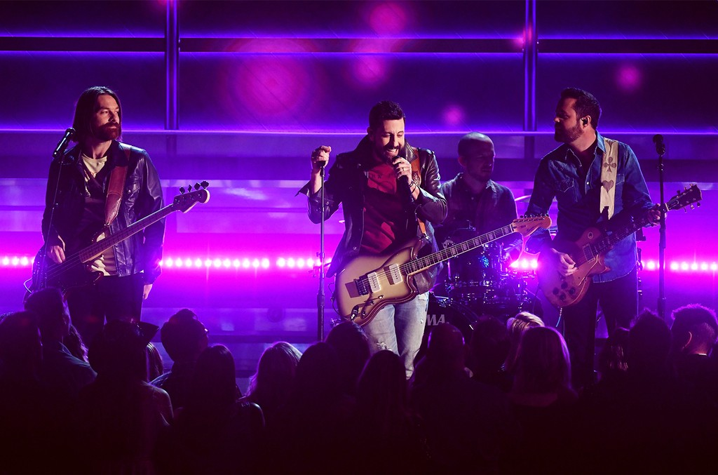 Geoff Sprung, Matthew Ramsey, Whit Sellers, and Brad Tursi of music group Old Dominion perform onstage during the 52nd Academy Of Country Music Awards at T-Mobile Arena on April 2, 2017 in Las Vegas.
