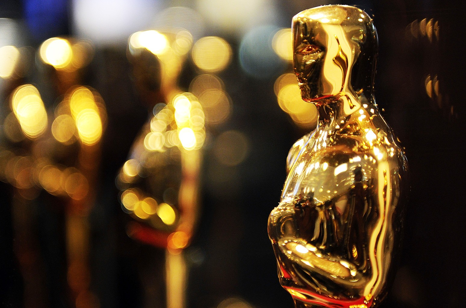 """Overview of Oscar statues on display at """"Meet the Oscars"""" at the Time Warner Center in New York City."""