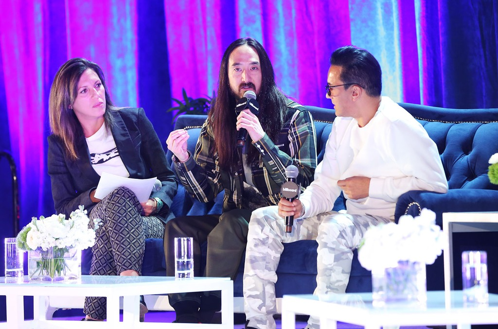 Pamela Bustios, Steve Aoki and RedOne at the Latin Billboard Confrence 2018, The Venetian Hotel, Las Vegas, NV.