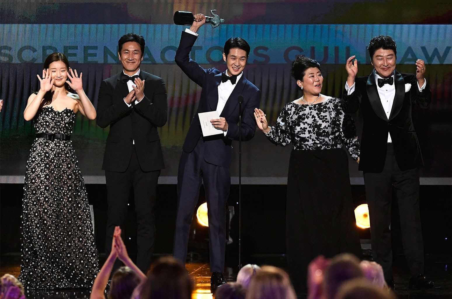 So-dam Park, Sun-kyun Lee, Woo-sik Choi, Jeong-eun Lee, and Kang-ho Song accept Outstanding Performance by a Cast in a Motion Picture for 'Parasite' onstage during the 26th Annual Screen Actors Guild Awards at The Shrine Auditorium on Jan. 19, 2020 in Los