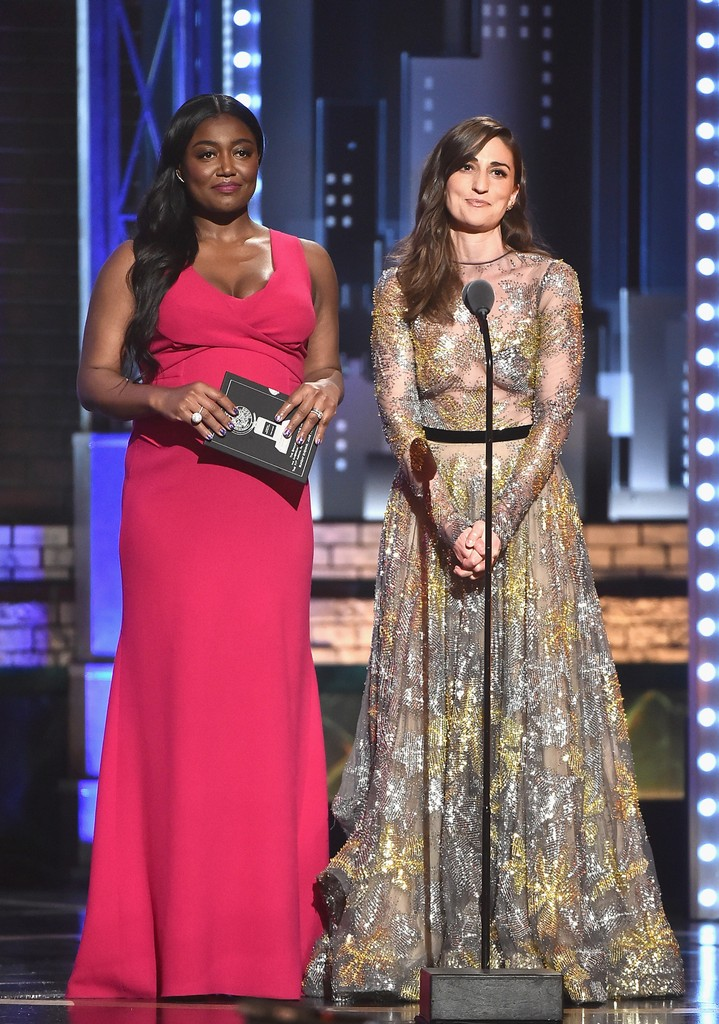 Patina Miller and Sara Bareilles speak onstage during the 2017 Tony Awards at Radio City Music Hall on June 11, 2017 in New York City.