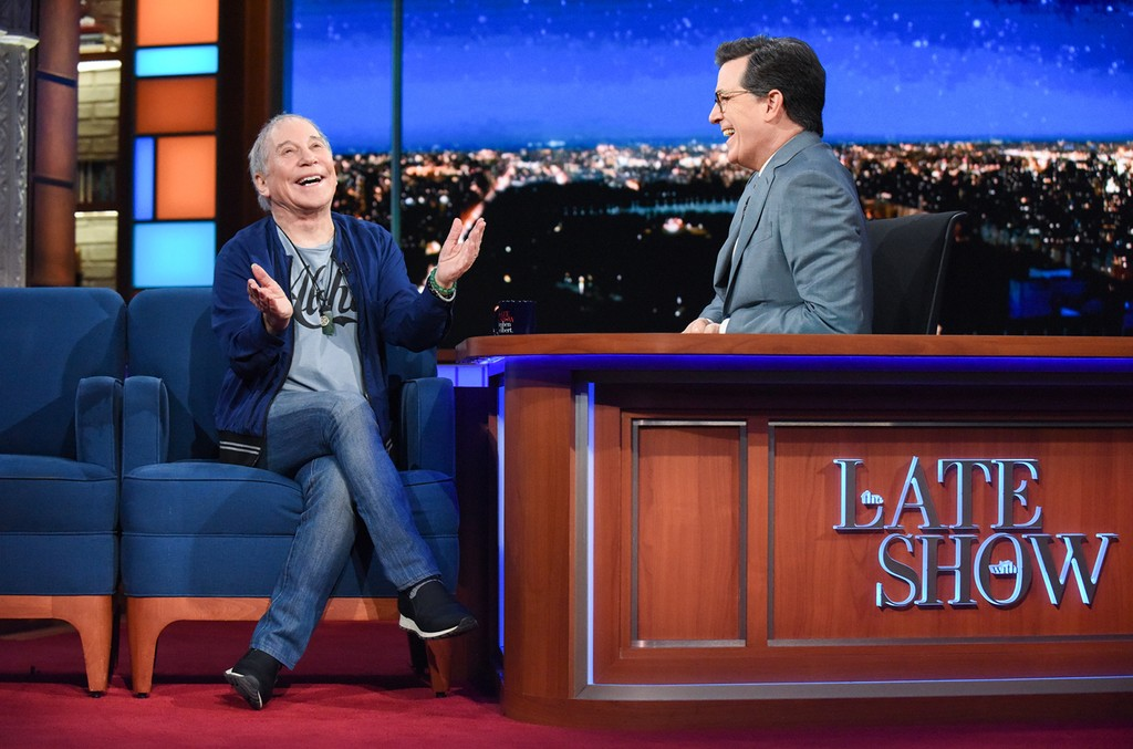 Paul Simon during an interview with host Stephen Colbert on 'The Late Show with Stephen Colbert' on May 24, 2017.