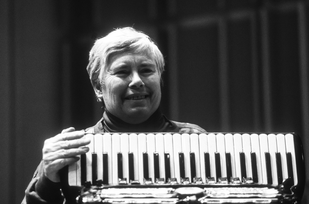 """Pauline Oliveros performs at a World Music Institute """"Interpretations"""" concert entitled 'The Music of Pauline Oliveros and Friends' at Merkin Concert Hall in New York on Nov. 14, 1991."""