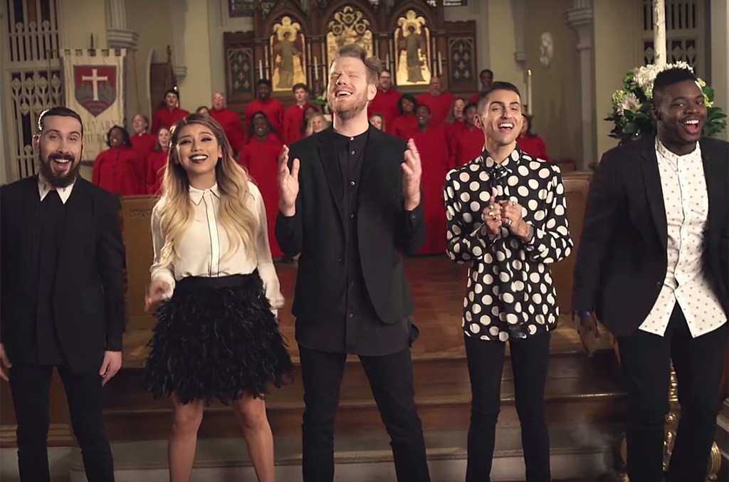 "Pentatonix in the video for ""O Come, All Ye Faithful."""
