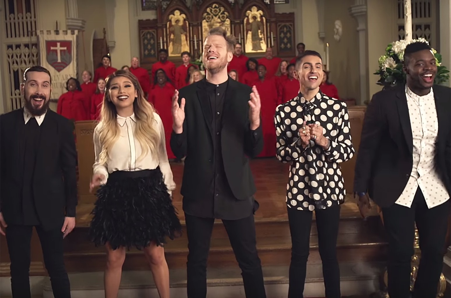 """Pentatonix in the video for """"O Come, All Ye Faithful."""""""
