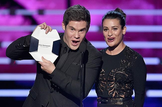 Adam Devine and Lea Michele