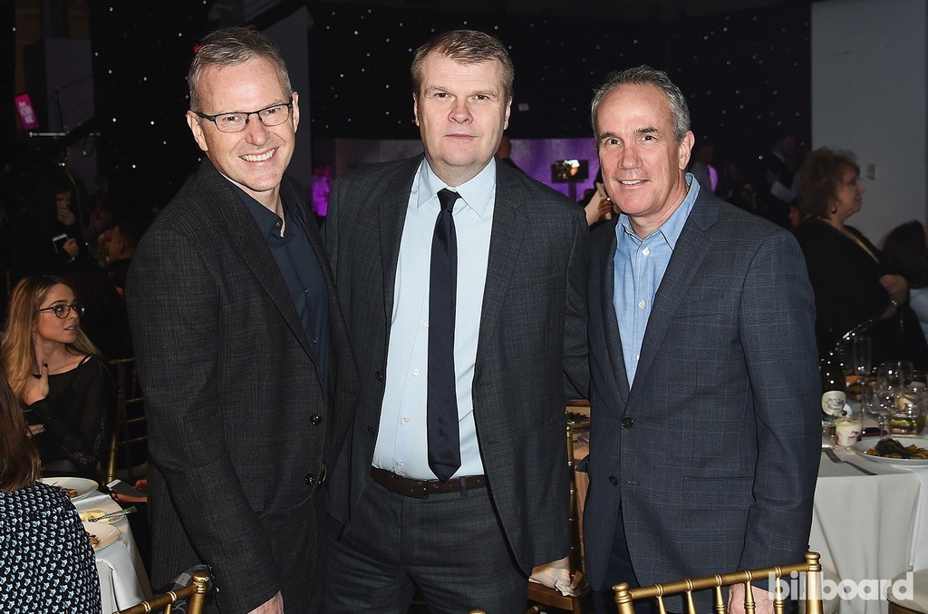 Peter Edge, Rob Stringer, and Tom Corson attend the Billboard Women in Music 2016 event on Dec. 9, 2016 in New York City.
