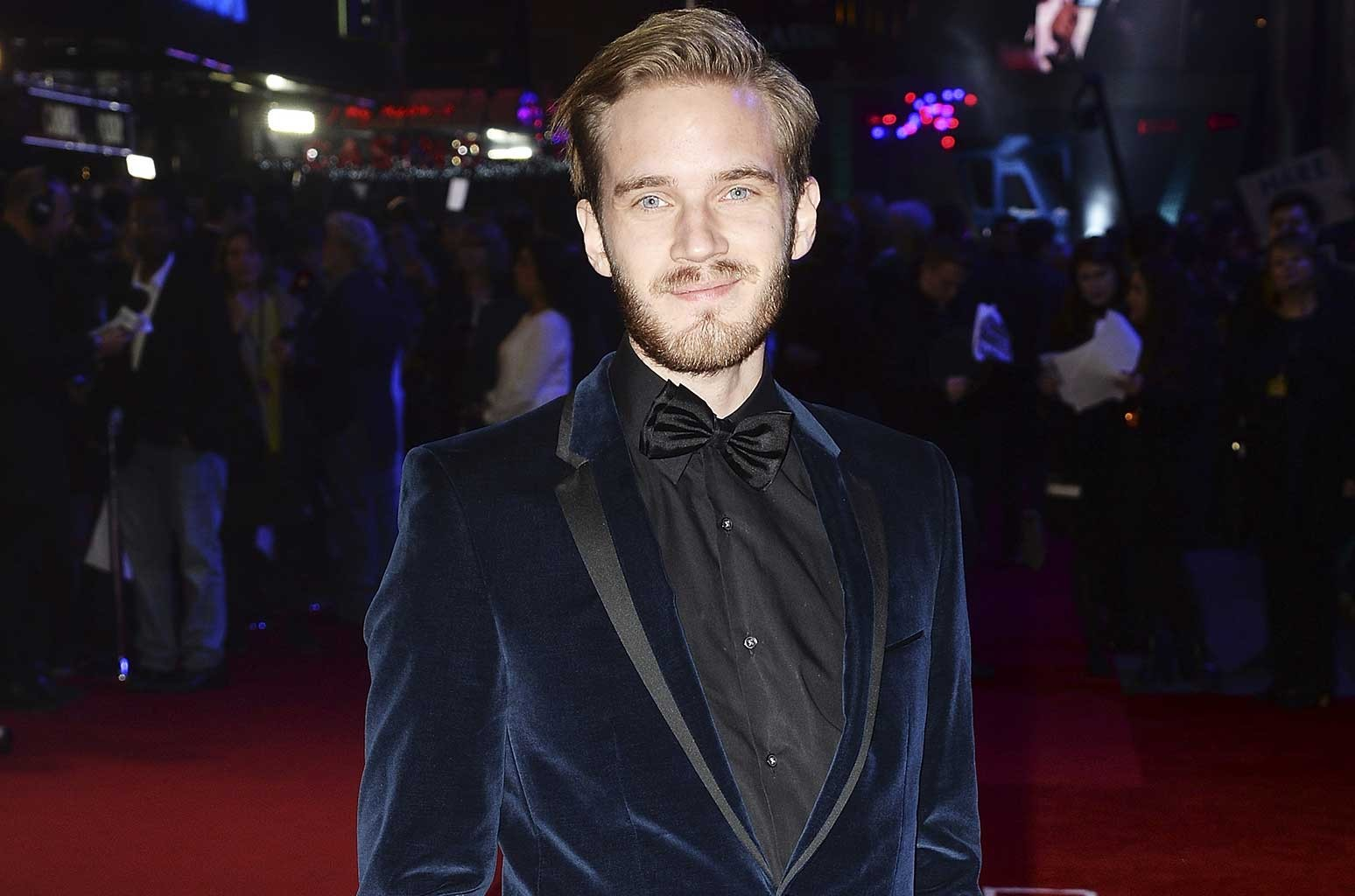 """PewDiePie attends the European Premiere of """"Star Wars: The Force Awakens"""" at Leicester Square on Dec. 16, 2015 in London, England."""