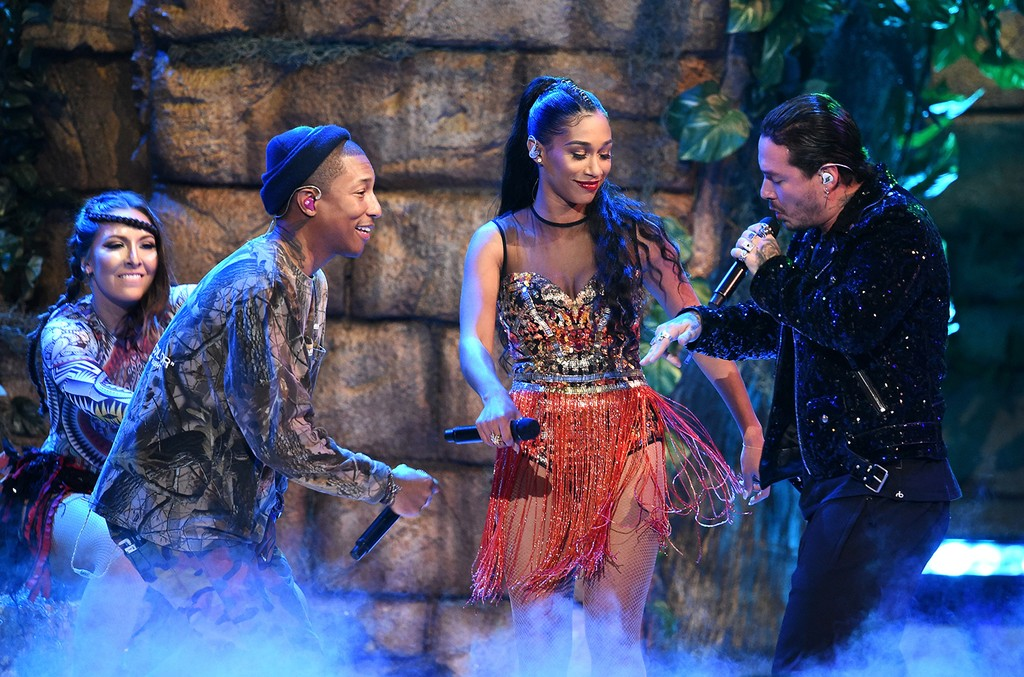 Pharrell Williams, BIA and J Balvin perform onstage during The 17th Annual Latin Grammy Awards at T-Mobile Arena on Nov. 17, 2016 in Las Vegas.
