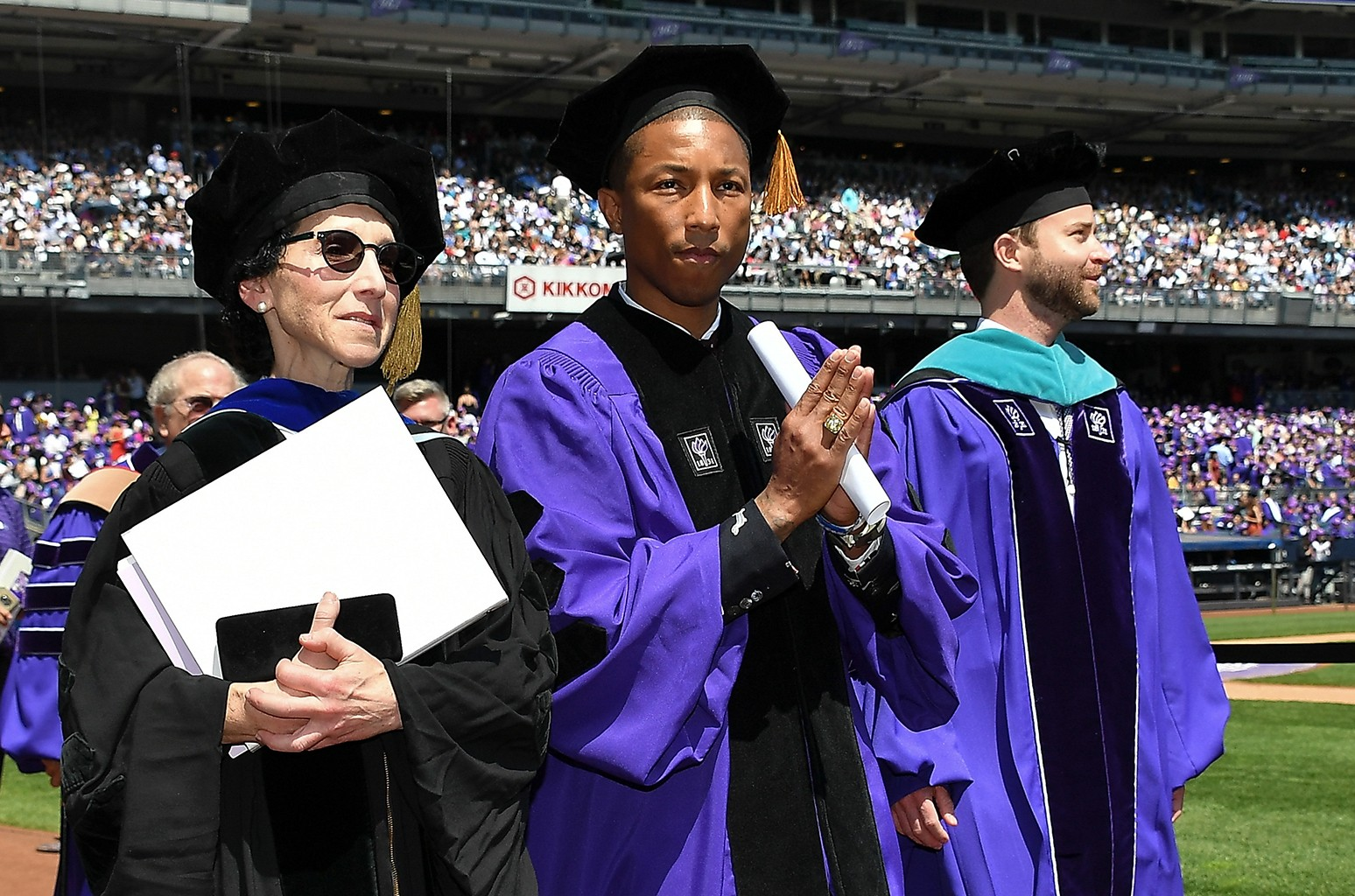 Pharrell Williams attends the New York University 2017 Commencement at Yankee Stadium on May 17, 2017 in New York City.