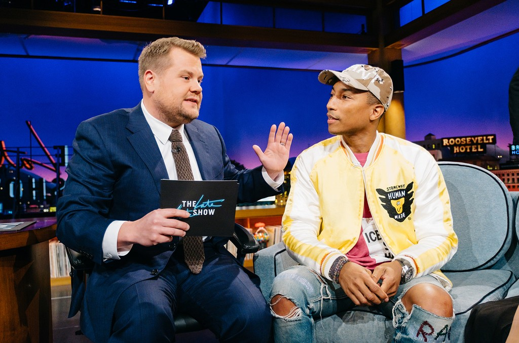 """Pharrell Williams chat with James Corden during """"The Late Late Show with James Corden"""" on Jan. 11, 2017."""