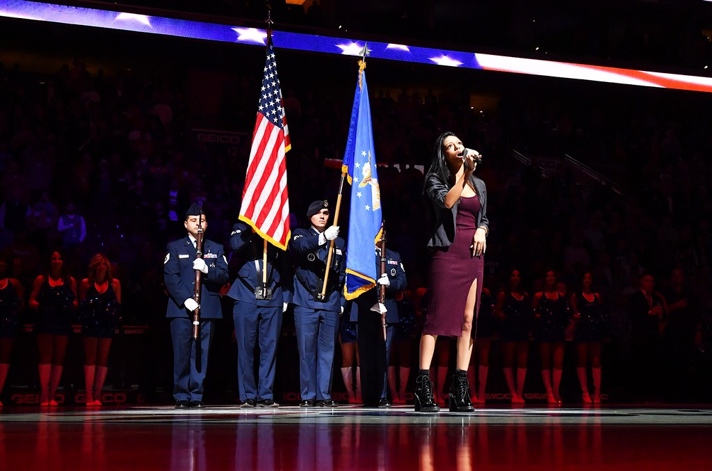 The National Anthem prior to the Philadelphia 76ers against the Los Angeles Clippers at Wells Fargo Center on Jan. 24, 2017 in Philadelphia.