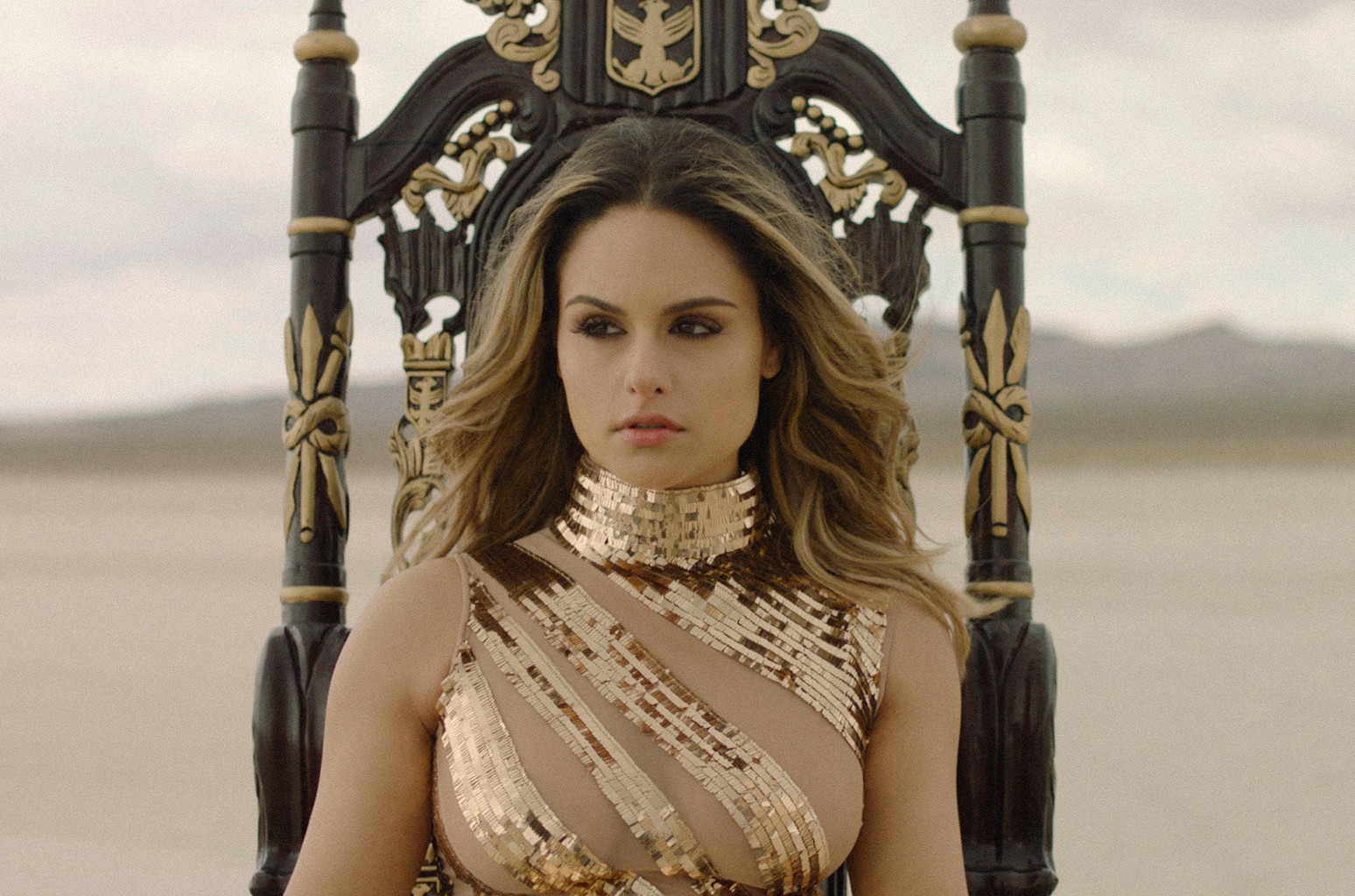 "Pia Toscano in the video for ""You'll Be King."""