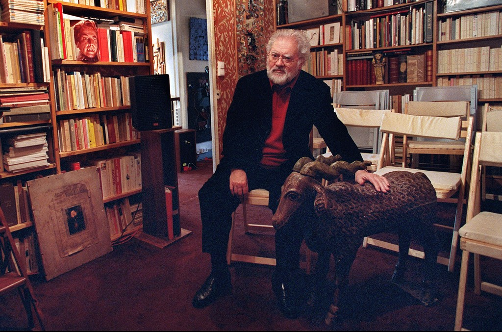 Pierre Henry photographed in his apartment in Paris on April 15, 2002.