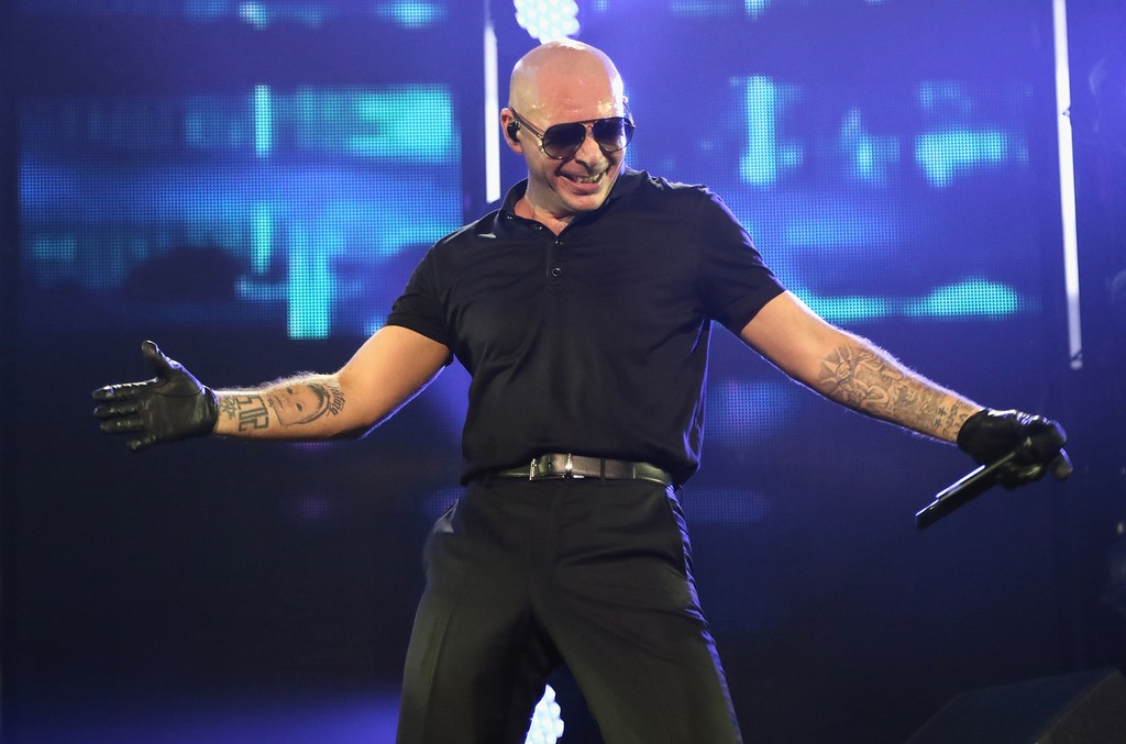 Pitbull performs on stage at iHeartRadio Fiesta Latina at American Airlines Arena on Nov. 5, 2016 in Miami.