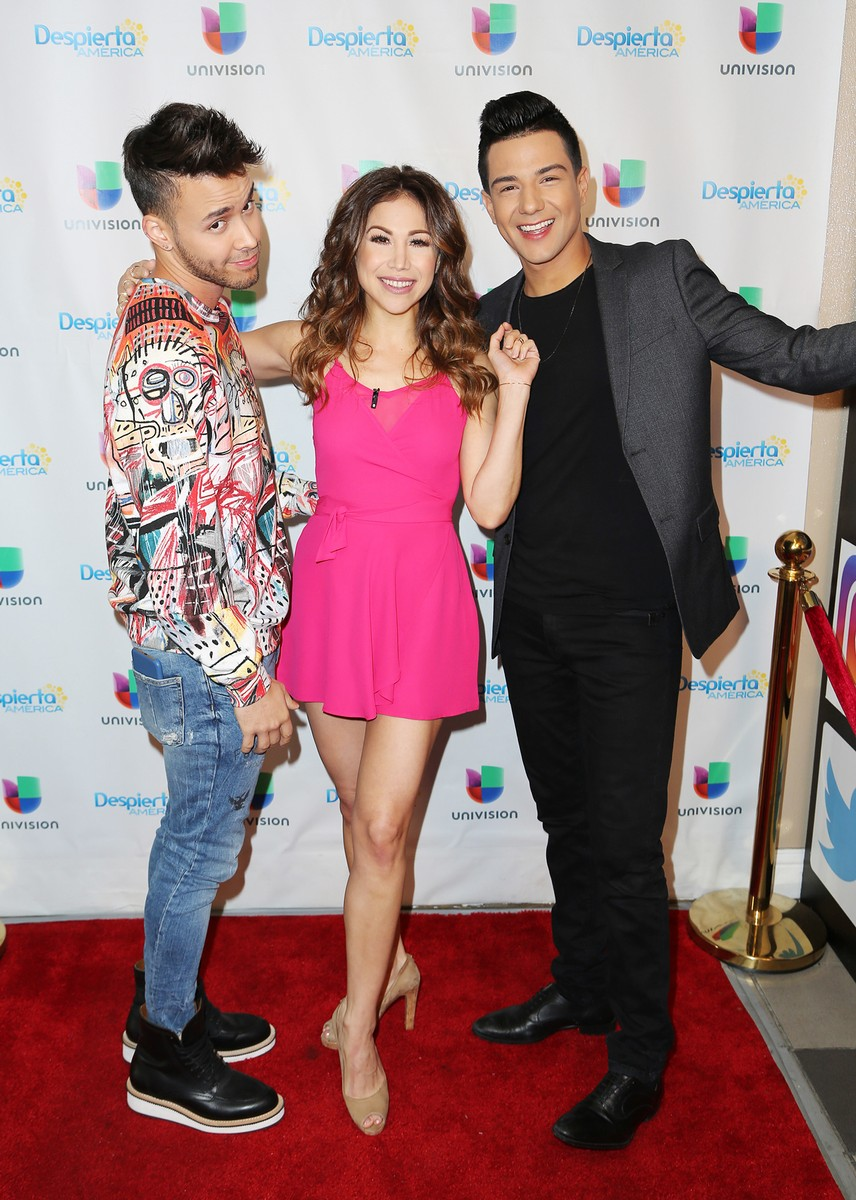 Prince Royce, Bianca Marroquin and Luis Coronel are seen on the set of 'Despierta America'