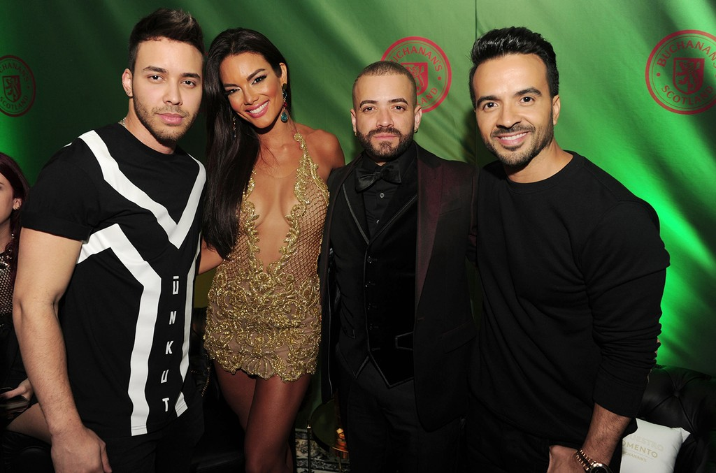 Prince Royce, Zuleyka Rivera, Nacho and Luis Fonsi at the Casa Buchanan's Billboard Latin Kickoff Party in Miami on April 26, 2017.