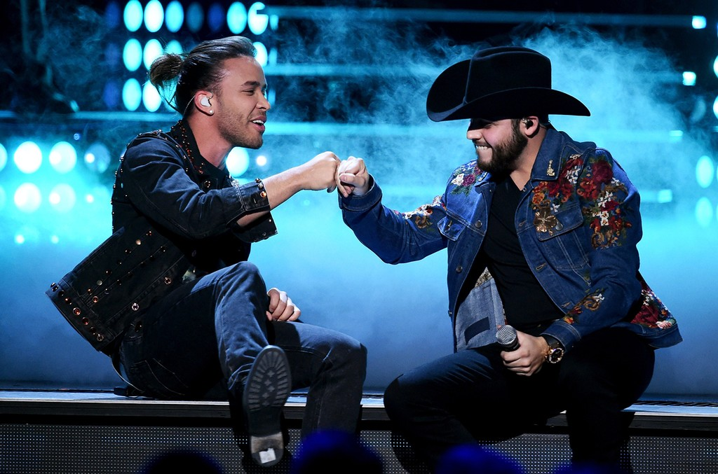 Prince Royce and Gerardo Ortiz perform onstage during The 17th Annual Latin Grammy Awards at T-Mobile Arena on Nov. 17, 2016 in Las Vegas.