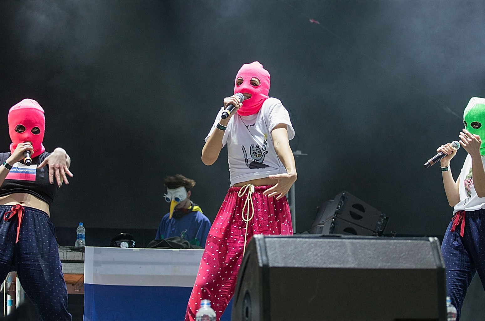 Conceptual artist Nadezhda Tolokonnikova (C) of Pussy Riot performs onstage during Day for Night festival on Dec. 16, 2017 in Houston, Texas.