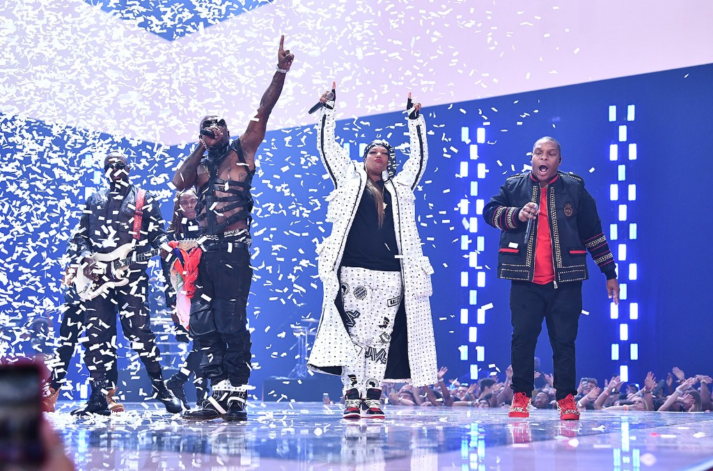 Naughty By Nature, Wyclef Jean, Fetty Wap, Queen Latifah and Redman perform onstage during the 2019 MTV Video Music Awards at Prudential Center on Aug. 26, 2019 in Newark, N.J.