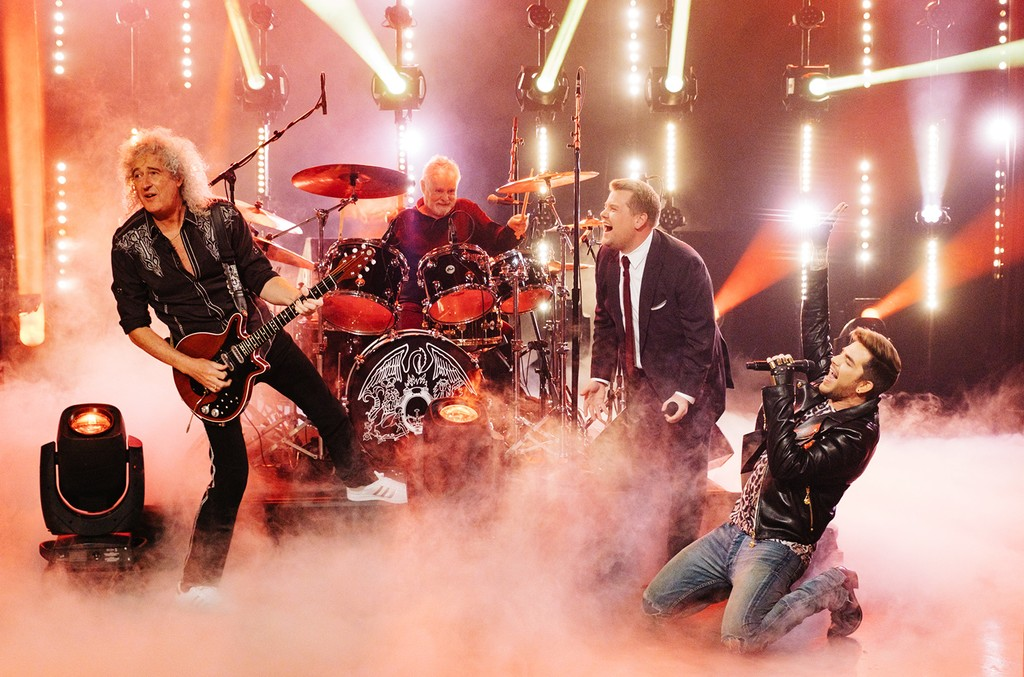 "Queen performs with James Corden during ""The Late Late Show with James Corden"" on Feb. 2, 2017."