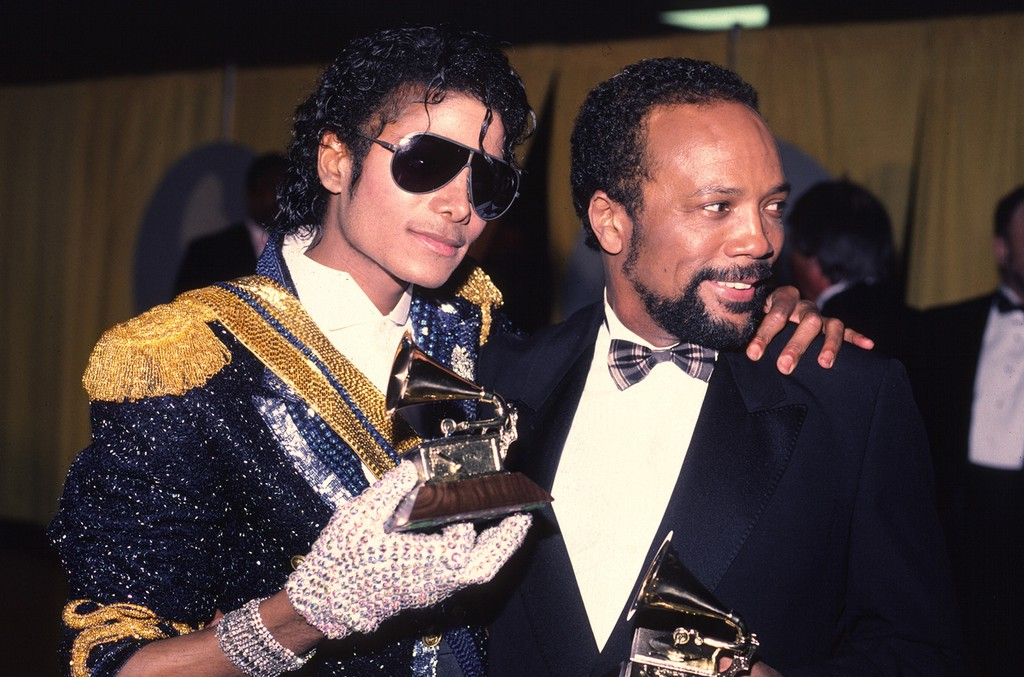 Michael Jackson and Quincy Jones photographed at the 1994 Grammy awards.
