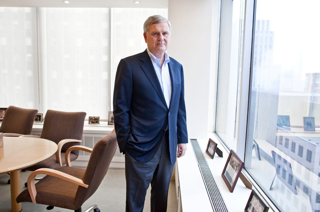 Randy Falco, CEO of Univision Communications Inc., stands in his office in New York City on Oct. 13, 2011.
