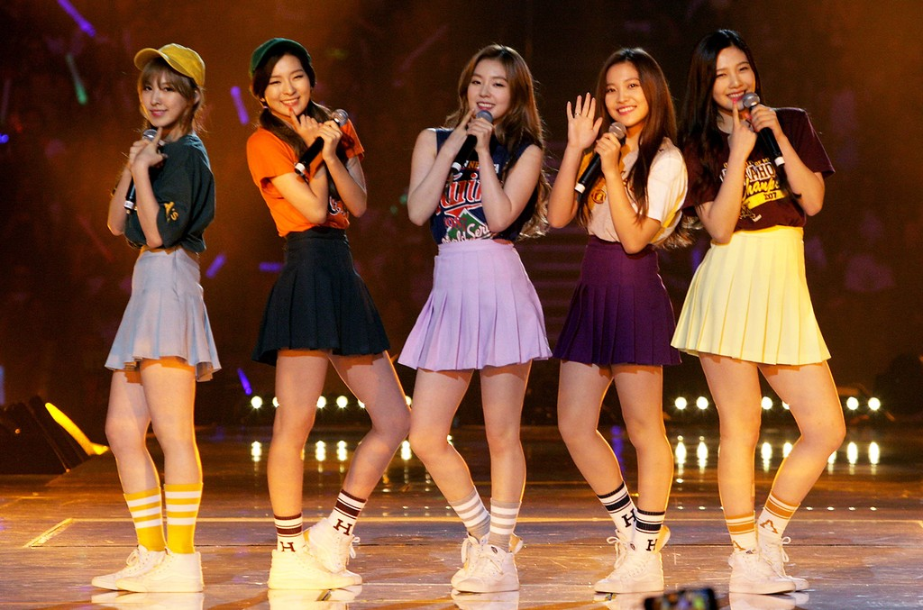 Red Velvet perform onstage at KCON 2015 at the Staples Center on Aug. 2, 2015 in Los Angeles.
