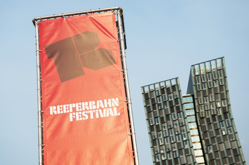 The logo of the Reeperbahn Festival is seen at Spielbudenplatz public square in in Hamburg, Germany on Sept. 22, 2016.