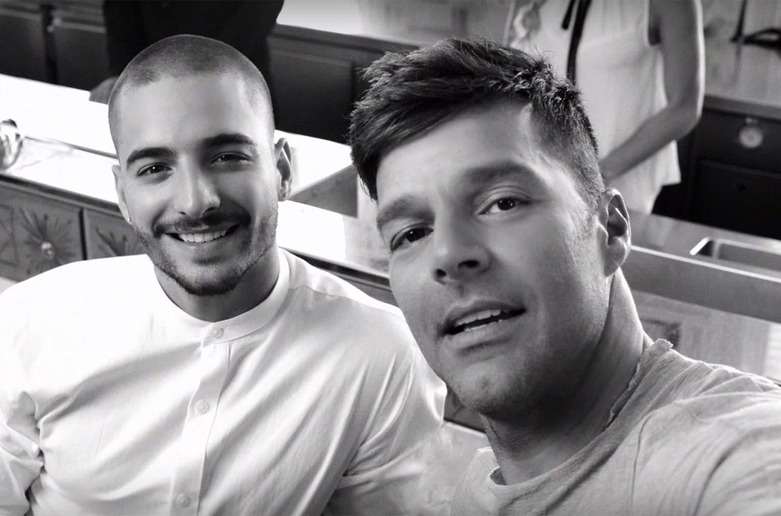 "Ricky Martin and Maluma in the video for ""Vente Pa' Ca."""