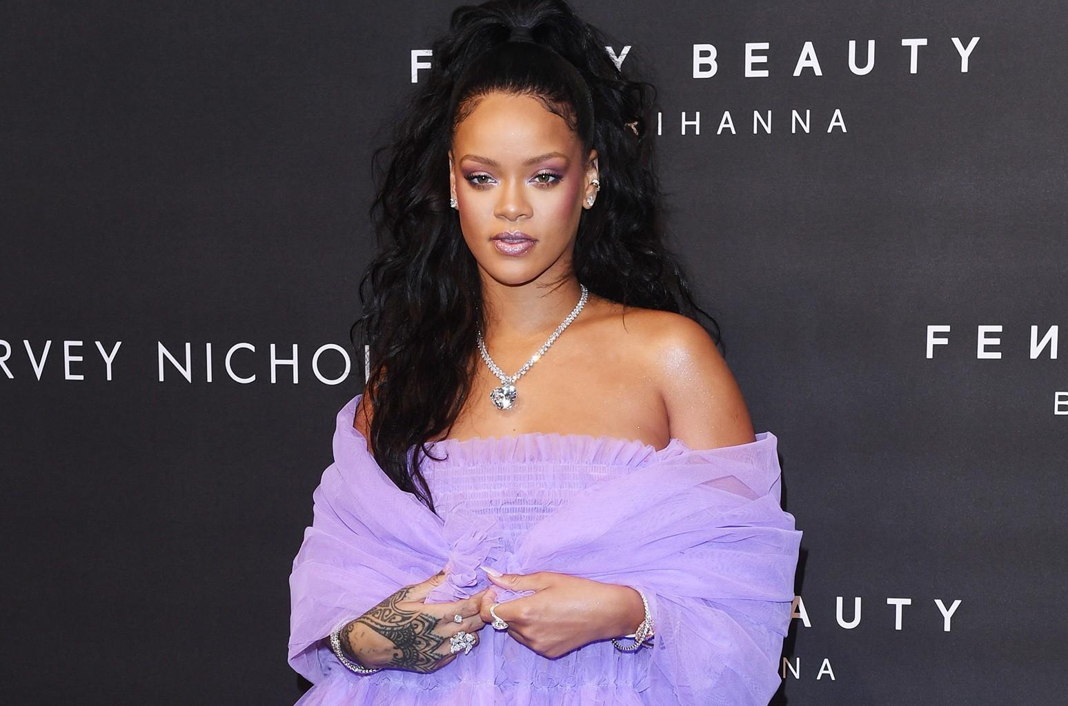 Rihanna attends the 'FENTY Beauty' by Rihanna launch at Harvey Nichols Knightsbridge on Sept. 19, 2017 in London.