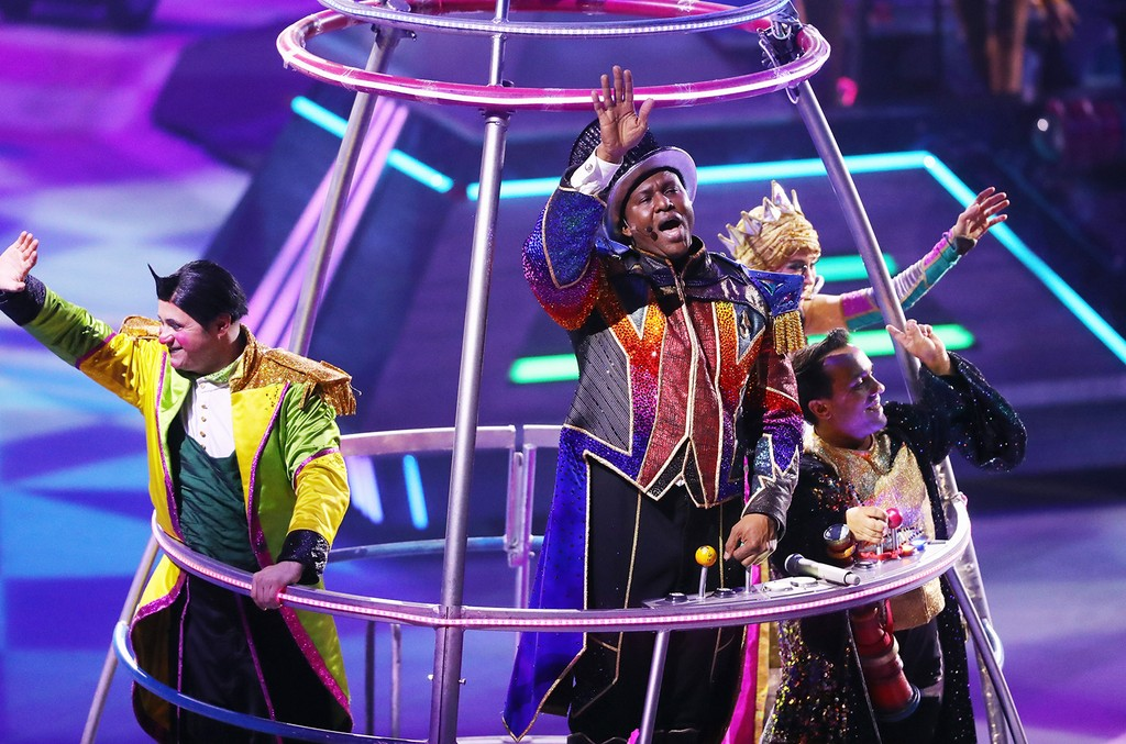 Ringmaster Jonathan Lee Iverson performs in the closing number on the final day of the Ringling Bros Barnum and Bailey Circus on May 21, 2017 in Uniondale, N.Y.
