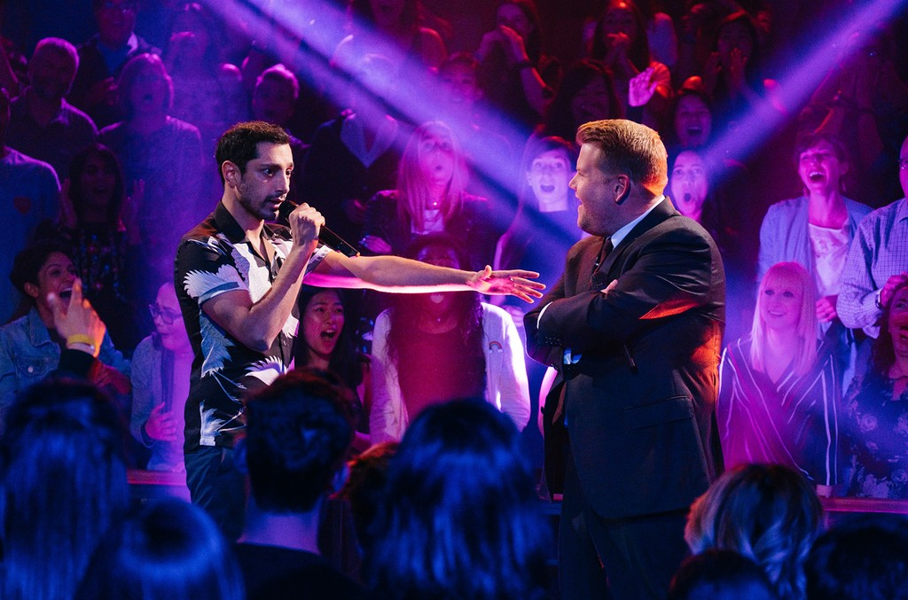 Riz Ahmed performs Drop The Mic with James Corden during The Late Late Show with James Corden on April 17, 2017.