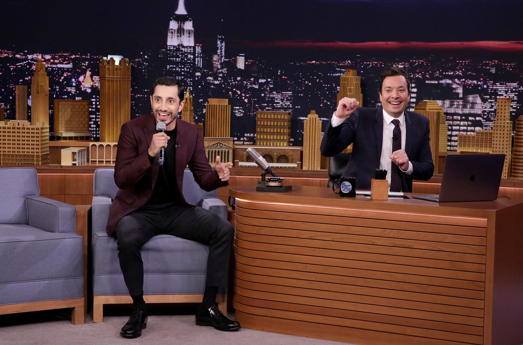 "Riz Ahmed and host Jimmy Fallon during the ""Wheel of Freestyle"" on The Tonight Show Starring Jimmy Fallon on Dec. 07, 2016."
