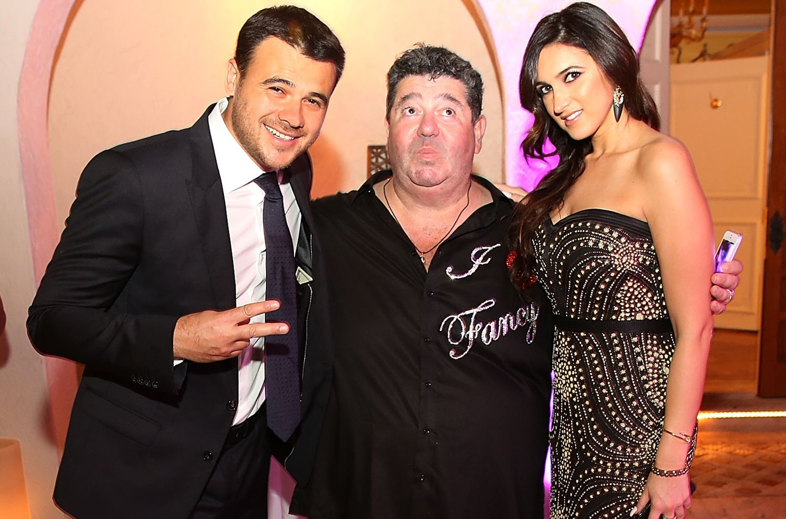 Emin Agalarov, Rob Goldstone and Sheila Agalarova at Barton G on Dec. 31, 2014 in Miami Beach, Fla.