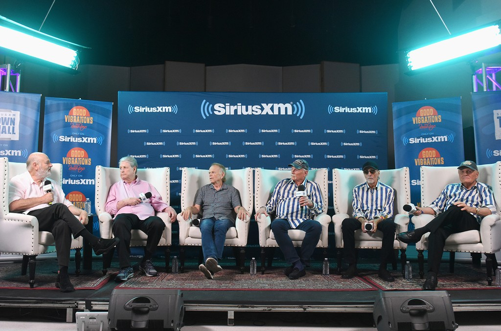 Host Rob Reiner, Brian Wilson, Al Jardine, Mike Love, David Marks and Bruce Johnston of The Beach Boys