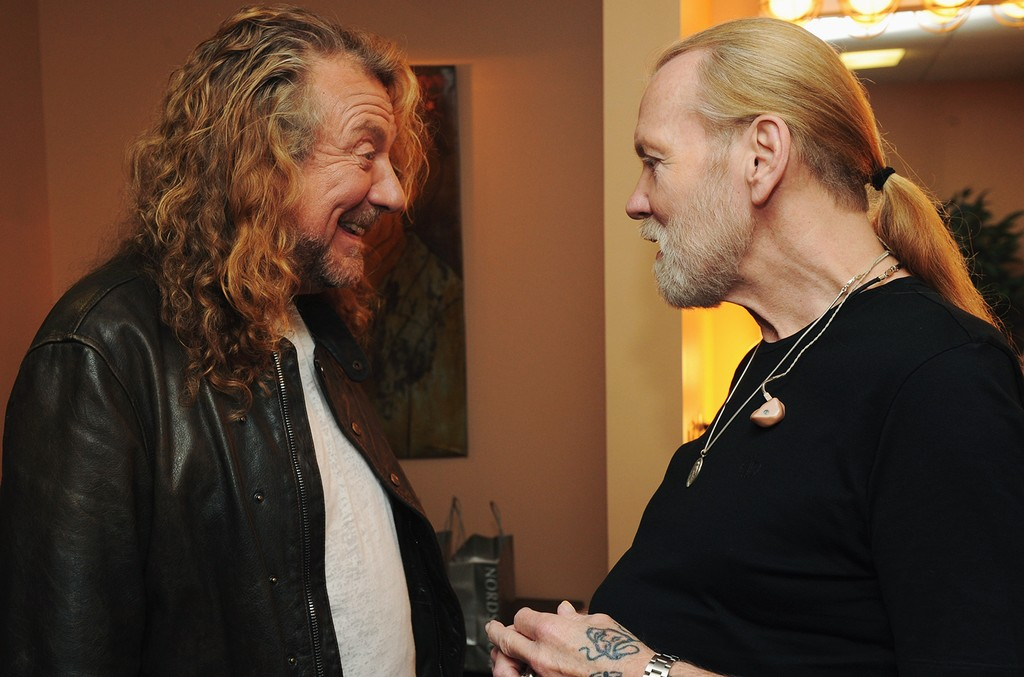 Robert Plant and Gregg Allman backstage at the 10th Americana Music Association honors and awards at the Ryman Auditorium on Oct. 13, 2011 in Nashville, Tenn.