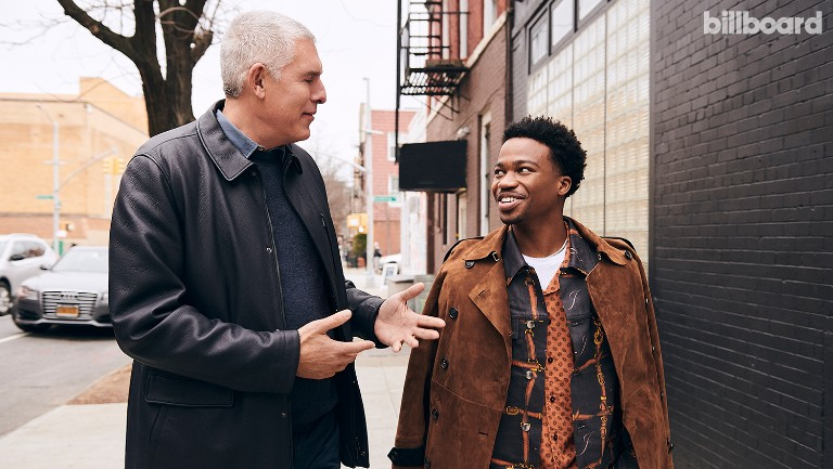 <p>Lyor Cohen (left) and Roddy Ricch photographed on Jan. 31, 2020 in Brooklyn.&nbsp&#x3B;Ricch styling by Bobby Wesley. On Ricch: Rhude shirt and Amiri suit.</p>