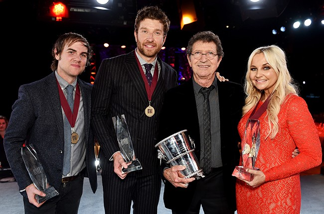 Ross Copperman, Brett Eldredge, BMI Icon Mac Davis, and Heather Morgan attend the BMI 2015 Country Awards at BMI