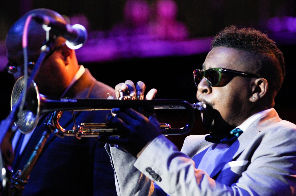 Roy Hargrove photographed at the Detroit Jazz Festival 2016.