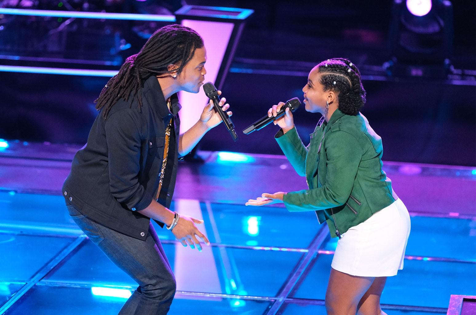 Royce Lovett and Kiara Brown on The Voice.