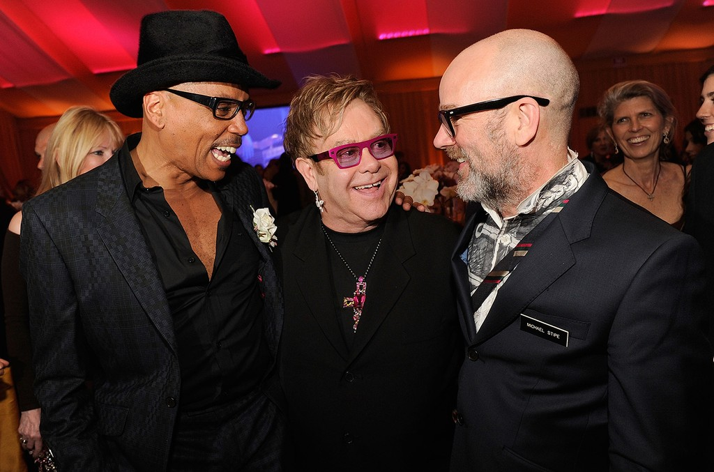 RuPaul, Elton John and Michael Stipe attend the 19th Annual Elton John AIDS Foundation Academy Awards Viewing Party at the Pacific Design Center on Feb. 27, 2011 in West Hollywood, Calif.