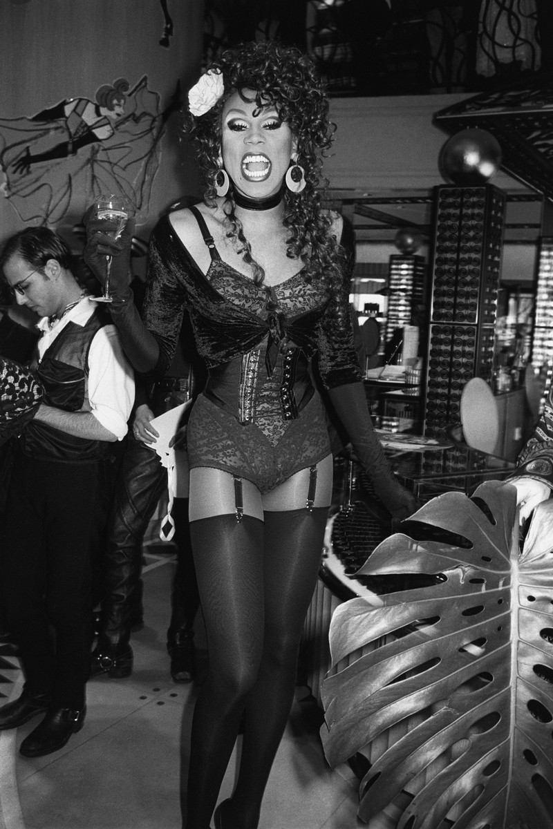 RuPaul attends Henri Bendel's anniversary celebration, hosted by Jean Paul Gaultier and Susan Falk on April 10, 1992 in New York City.