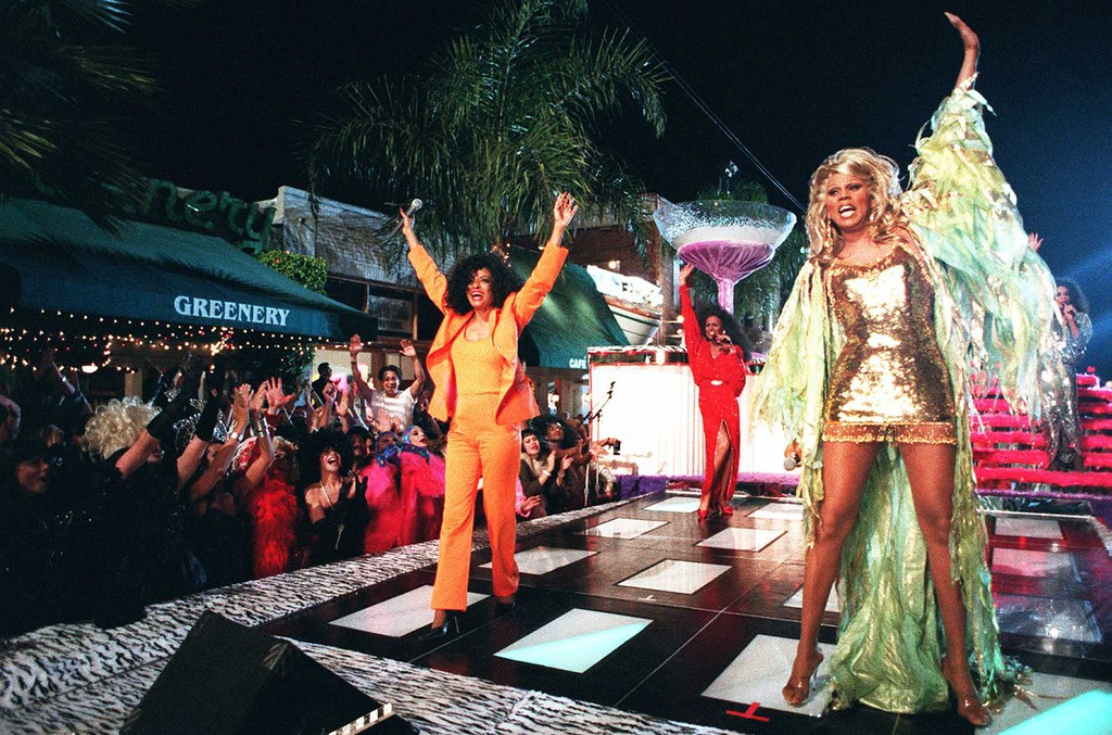 RuPaul and Diana Ross films a music video together on Santa Monica Boulevard on Jan. 7, 1996 in West Hollywood, Calif.