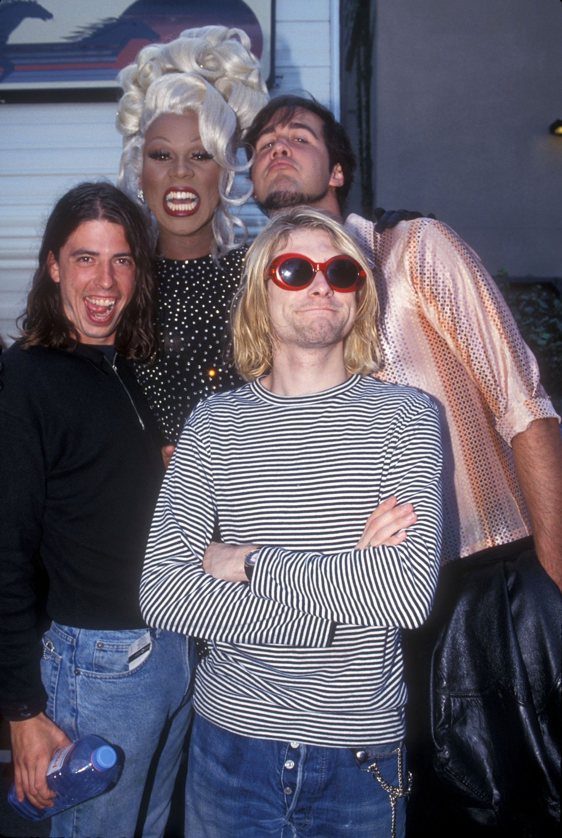 RuPaul (2nd from left) with Dave Grohl, Kurt Cobain and Krist Novoselic of Nirvana at the 10th Annual MTV Video Music Awards on Sept. 2, 1993 in Los Angeles.
