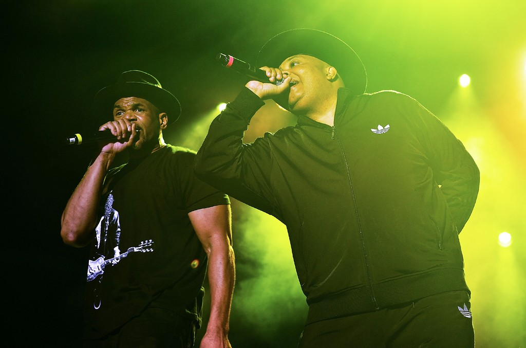 """Daryl McDaniels and Joseph """"Rev Run"""" Simmons of RUN-DMC perform at Sands Steel Stage at PNC Plaza on Aug. 6, 2016 in Bethlehem, Penn."""