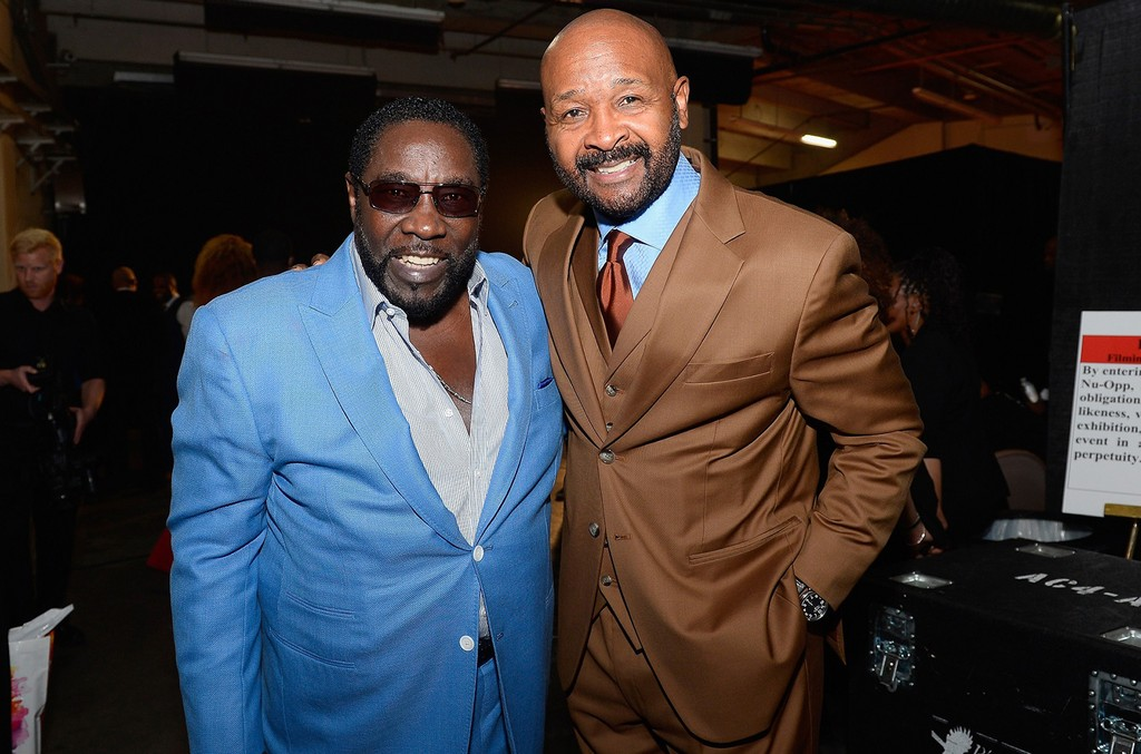 Eddie Levert of The O'Jays and Neighborhood Awards Executive Producer Rushion McDonald pose backstage during the 2016 Neighborhood Awards hosted by Steve Harvey at the Mandalay Bay Events Center on July 23, 2016 in Las Vegas