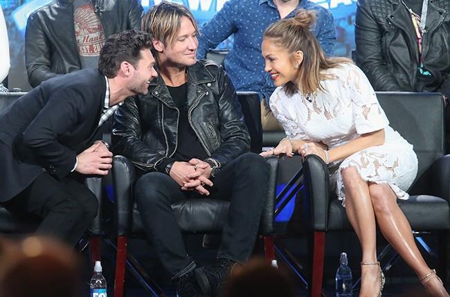 Ryan Seacrest, Keith Urban and Jennifer Lopez speak at the 2015 Winter TCA Tour