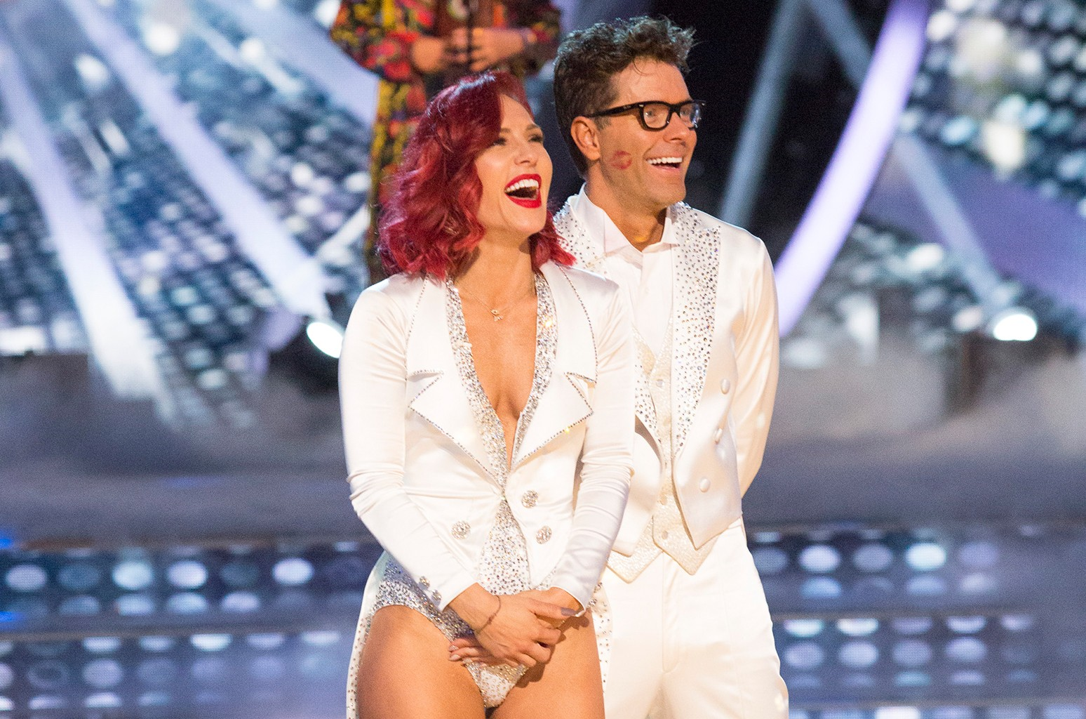 Sharna Burgess and Bobby Bones on Dancing with the Stars.